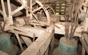 The Belfry inside of Nevern Church's 12th century tower, St Brynach, Nevern, Pembrokeshire