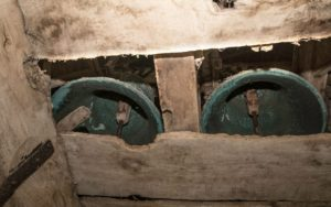 Two of our church bells hanging in the tower. Nevern Church, St Brynach, Nevern, Pembrokeshire